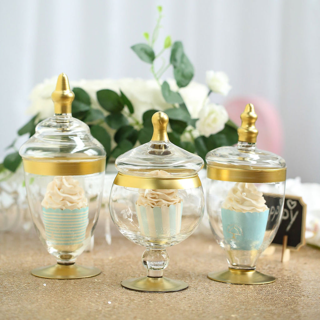 Set of 3 - Gold Trim Apothecary Jars, Glass Candy Jars With Lids