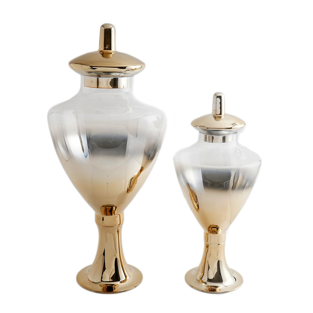 "Pack of 2 | Chrome Gold Ombre Glass Apothecary Candy Jars With Baroque Top - 24"" & 18"""