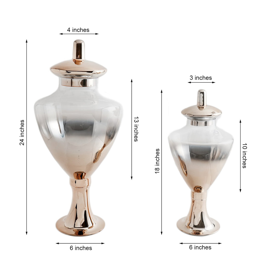 "Pack of 2 | Champagne Ombre Glass Apothecary Candy Jars With Baroque Top - 24"" & 18"""