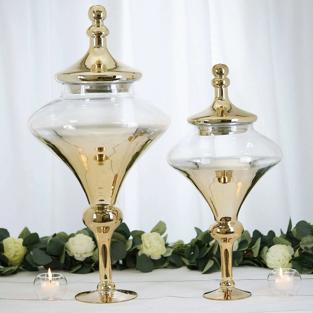 "Pack of 2 | Chrome Gold Teardrop Ombre Glass Apothecary Candy Jars - 27"" & 22"""