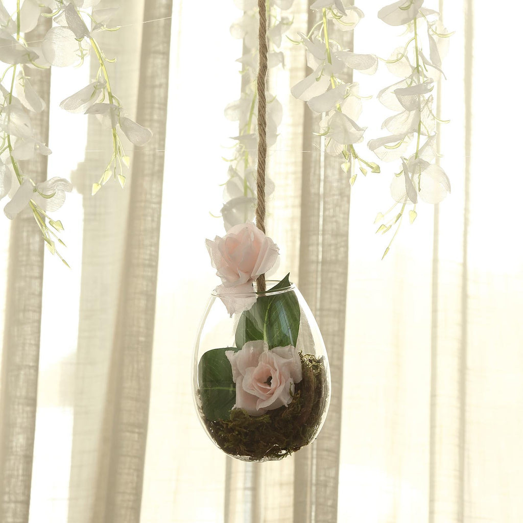 Set of 3 | Clear Teardrop Shaped Glass Hanging Vases | Wall Mounted Terrariums