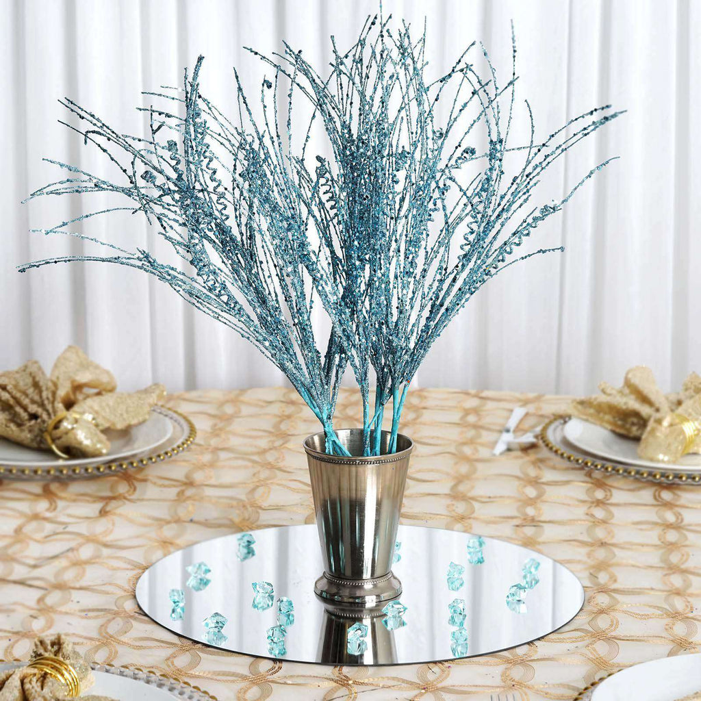 12 Pack Turquoise Wavy Glittered Stems