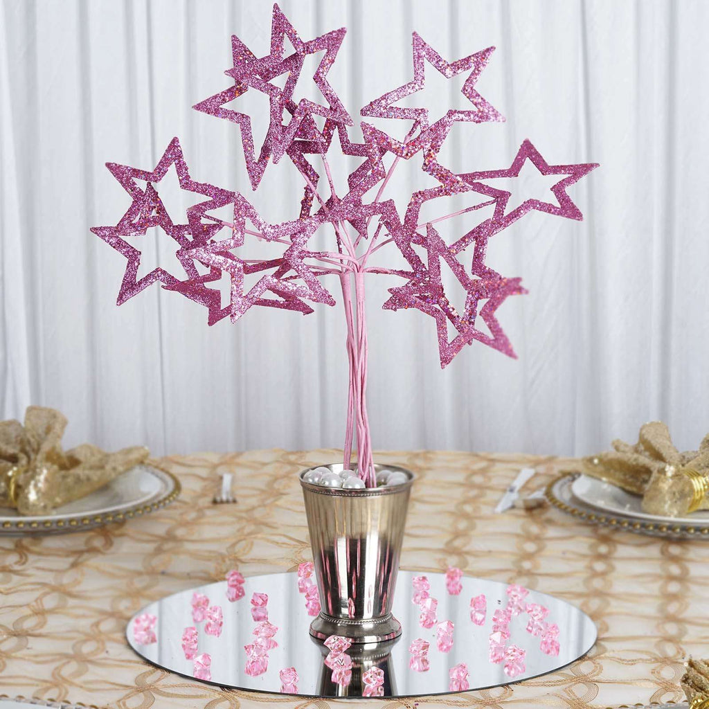 6 Pack Pink Fairy Godmothers Glittered 6 star Wand