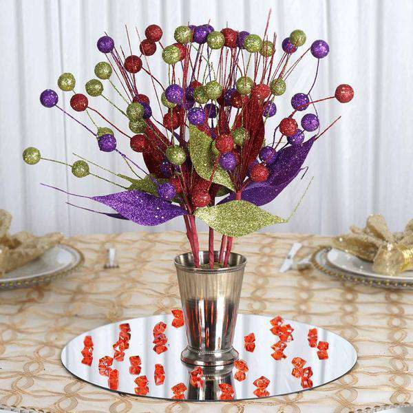 6 Pack Red/Lime/Purple Upright Sparkling Drops On Stems With Glittered Leaves