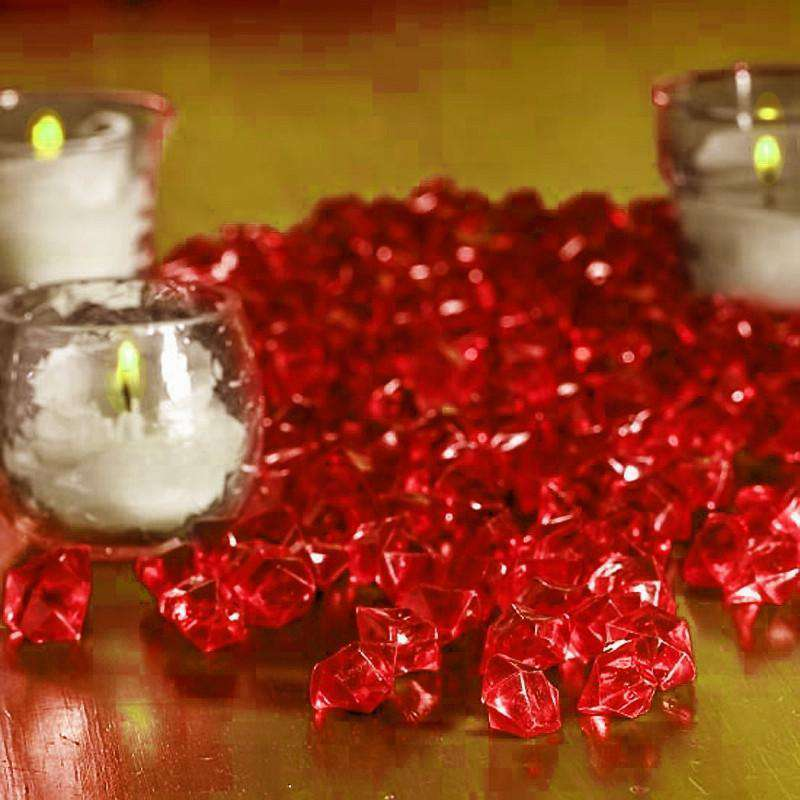 400 pcs RED Mini Acrylic Ice Crystals Wedding Party Table Scatters Decorations