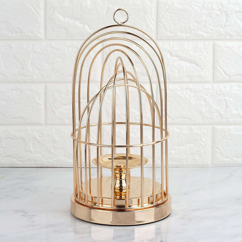 "13"" Gold Metal Cage Pillar Candle Holder Wedding Centerpiece"