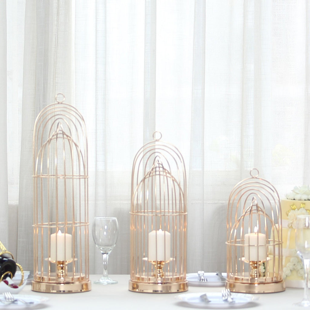 Set of 3 | Gold Metal Cage Pillar Candle Holder Set Wedding Centerpiece - 13"