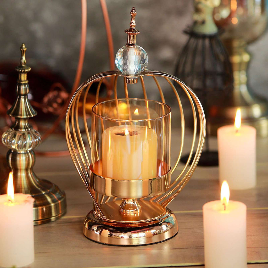 "12"" Gold Metal Cage Glass Votive Candle Holder With Crystal Baroque Top"