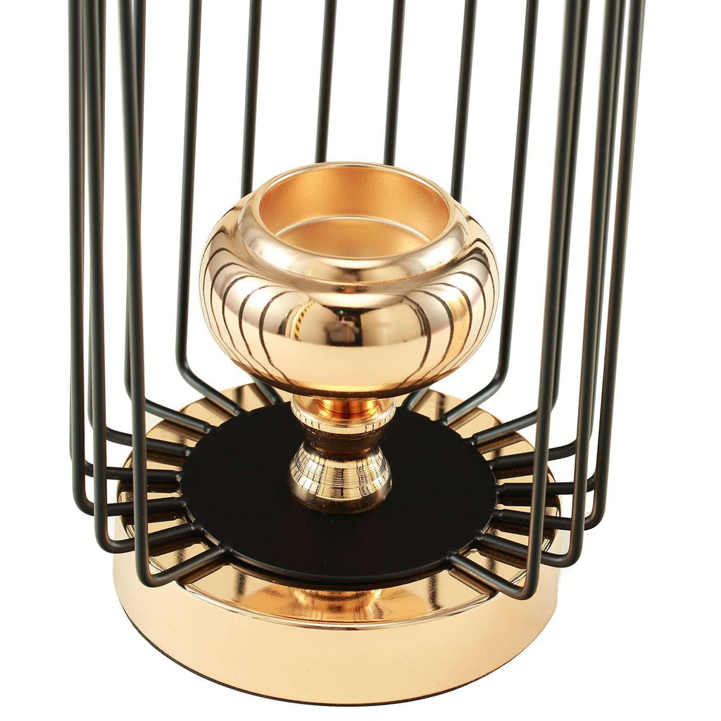 "17"" Tall Gold/Black Metal Hanging Cage Votive Candle Holder"