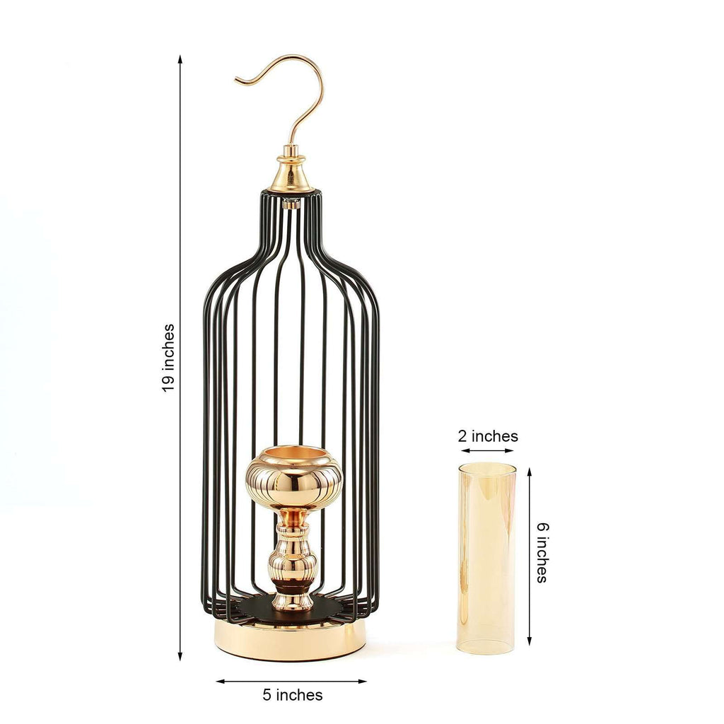 "19"" Tall Gold/Black Metal Hanging Cage Votive Candle Holder"