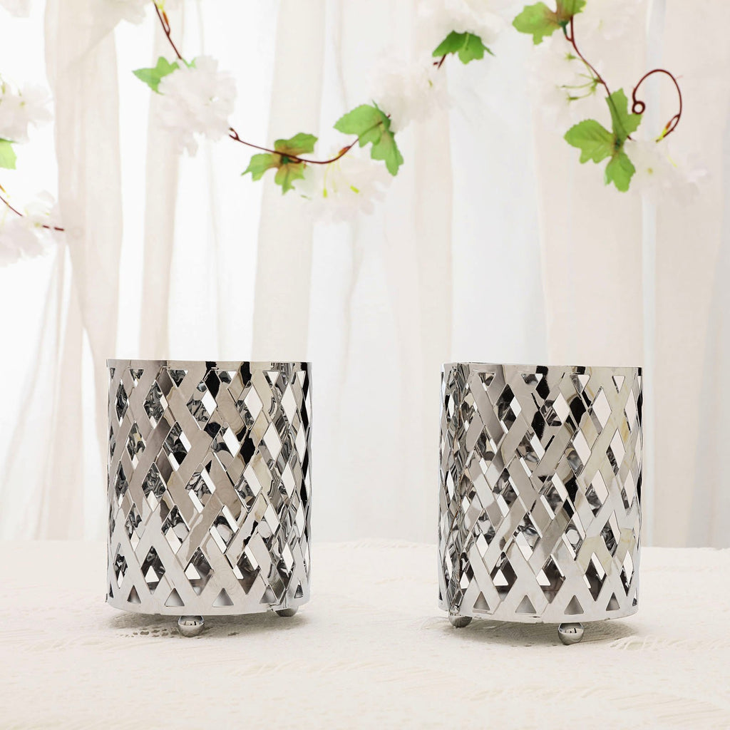 Silver Candle Holder, Votive Holder, Wedding Table Centerpieces