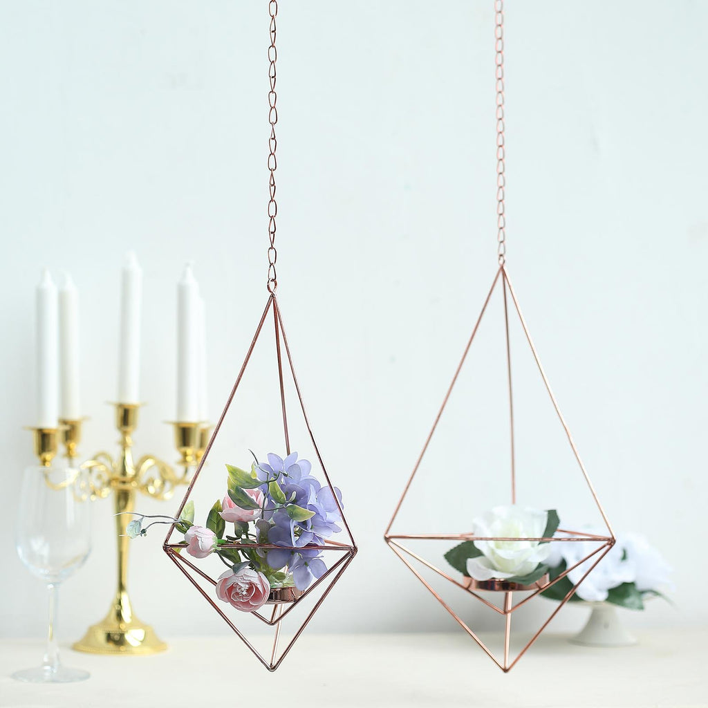 Set of 2 | Rose Gold Metal Geometric Candle Holders | Hanging Tealight Candle Holder Set  - 12"