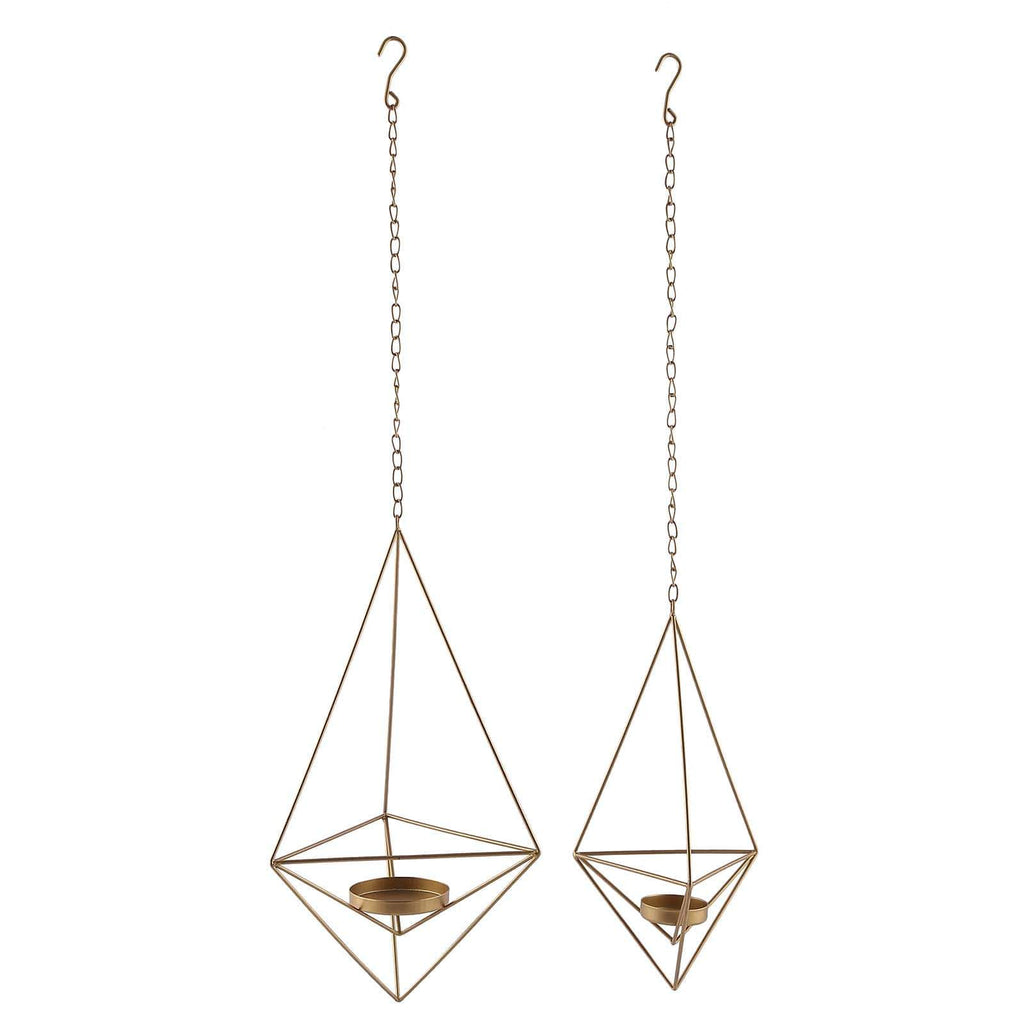 Set of 2 | Gold Metal Geometric Candle Holders | Hanging Tealight Candle Holder Set  - 12"