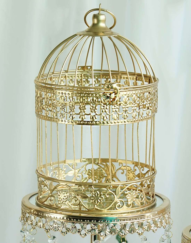 "2 Sets Of Large Metallic Gold Bird Cage Wedding Card Holder Centerpiece Decoration - 9"" & 13"""