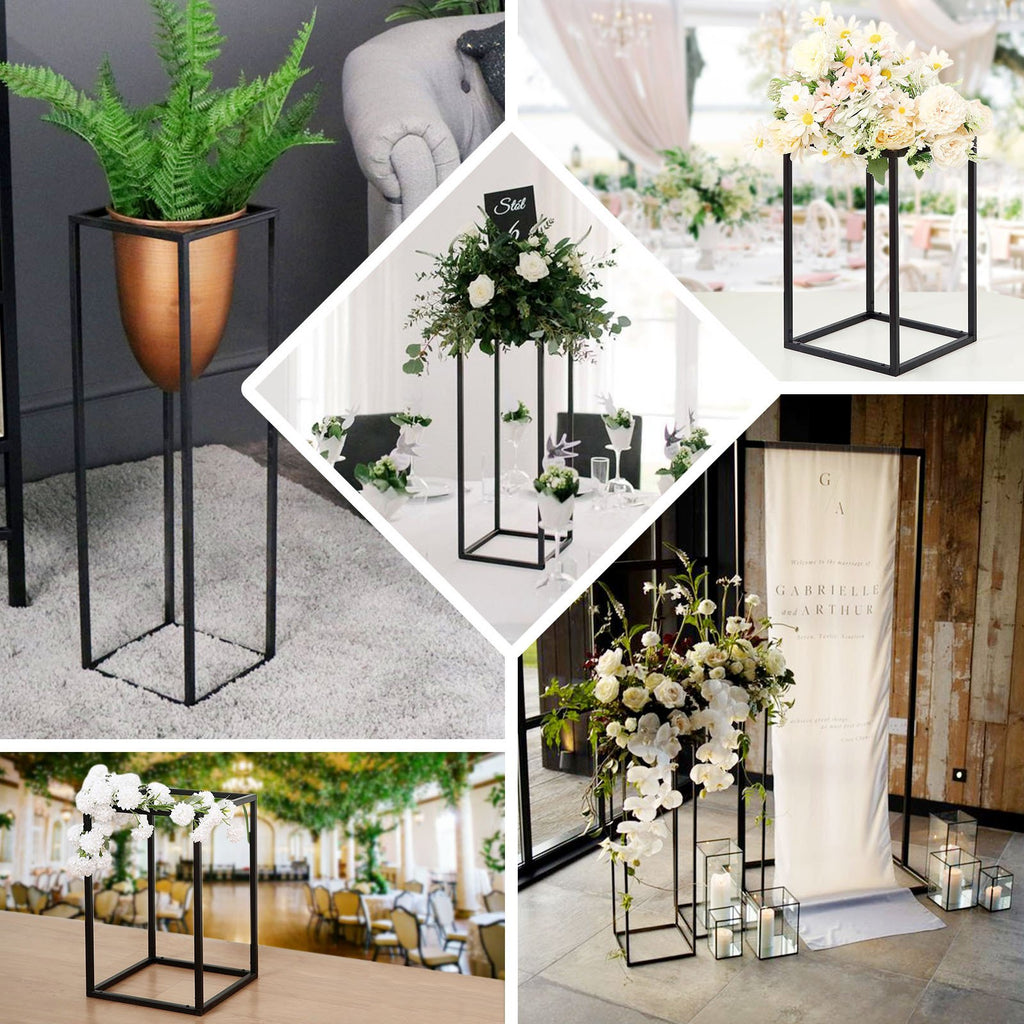 "2 Pack - 12"" Rectangular Matte Black Metal Wedding Flower Stand, Geometric Centerpiece Vases"