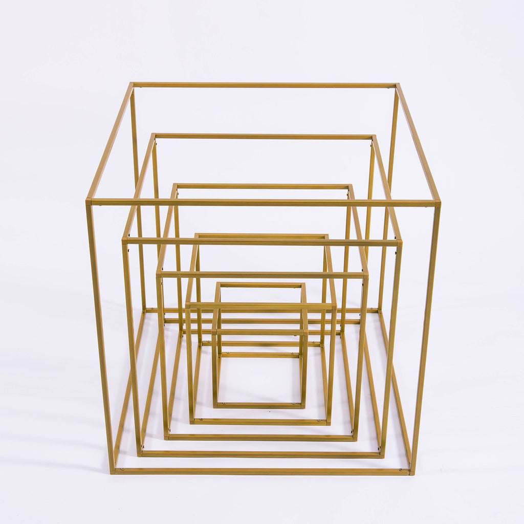 "20"" Square Gold Metal Wedding Flower Stand, Geometric Centerpiece Vases"