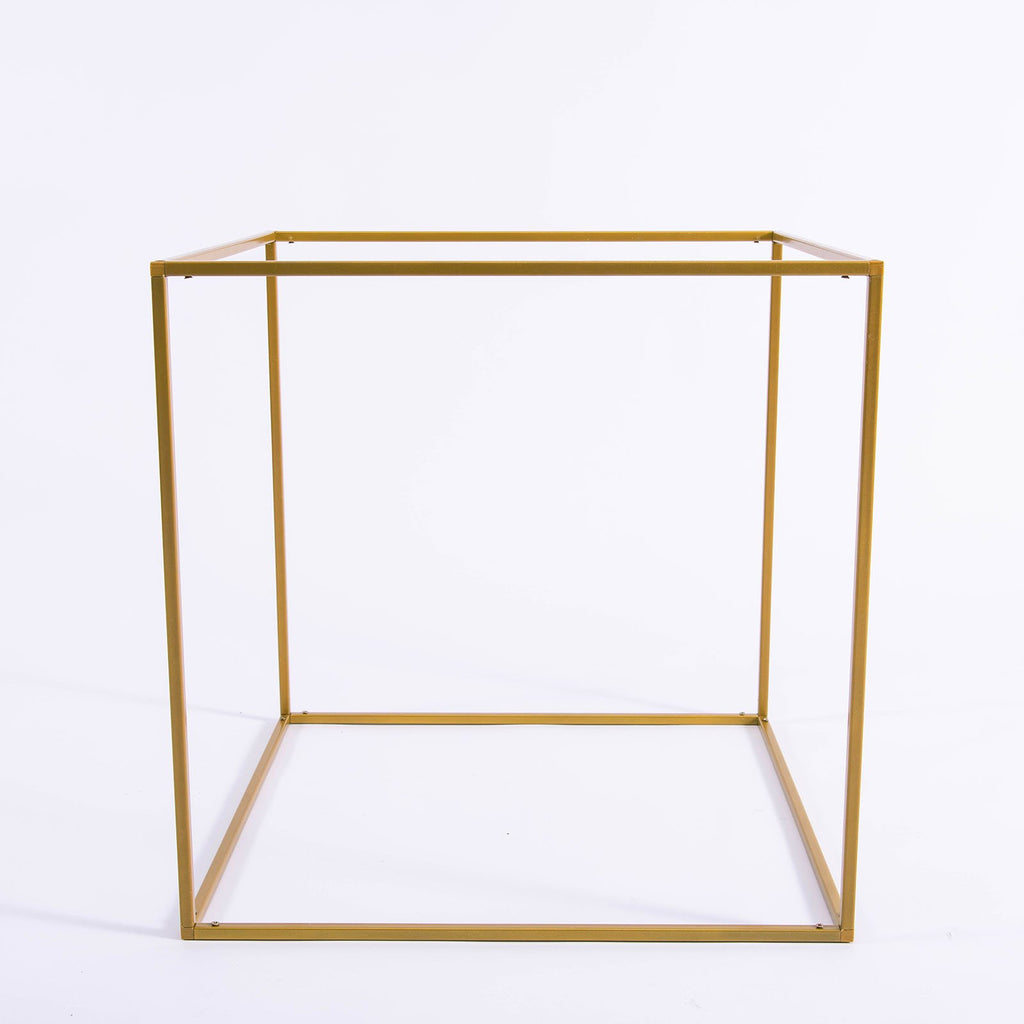 "2 Pack - 20"" Square Gold Metal Wedding Flower Stand, Geometric Centerpiece Vases"