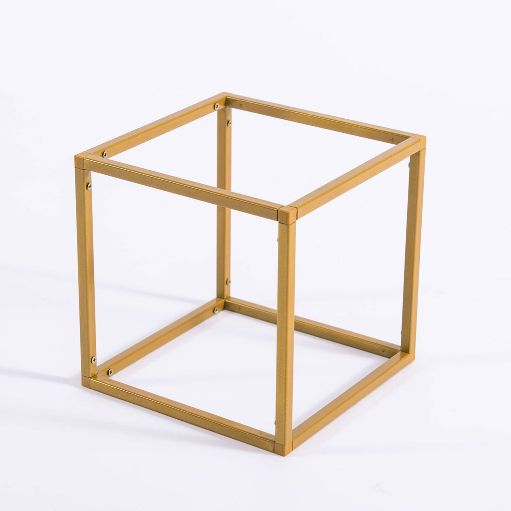 "2 Pack - 8"" Square Gold Metal Wedding Flower Stand, Geometric Centerpiece Vases"