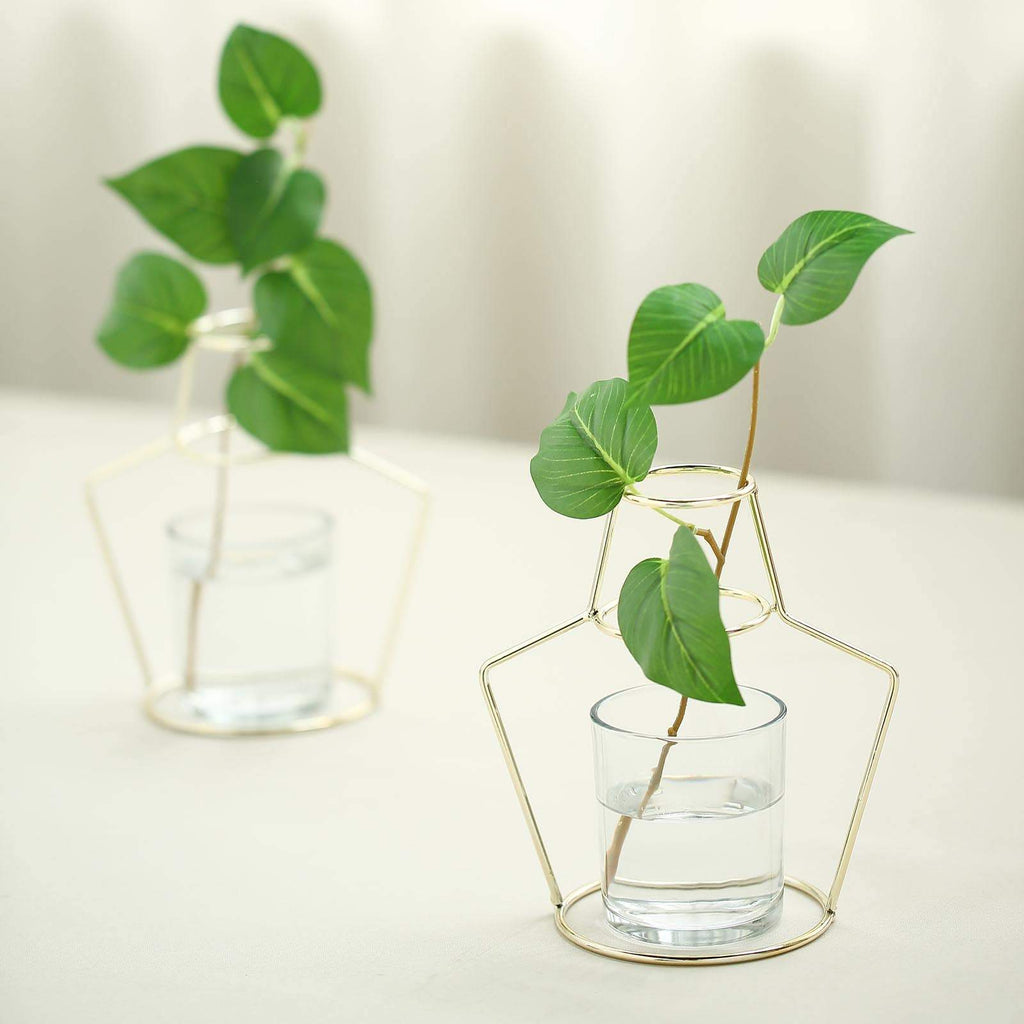 "Pack of 2 | 7"" Geometric Metal Flower Vase Racks Plant Holders 