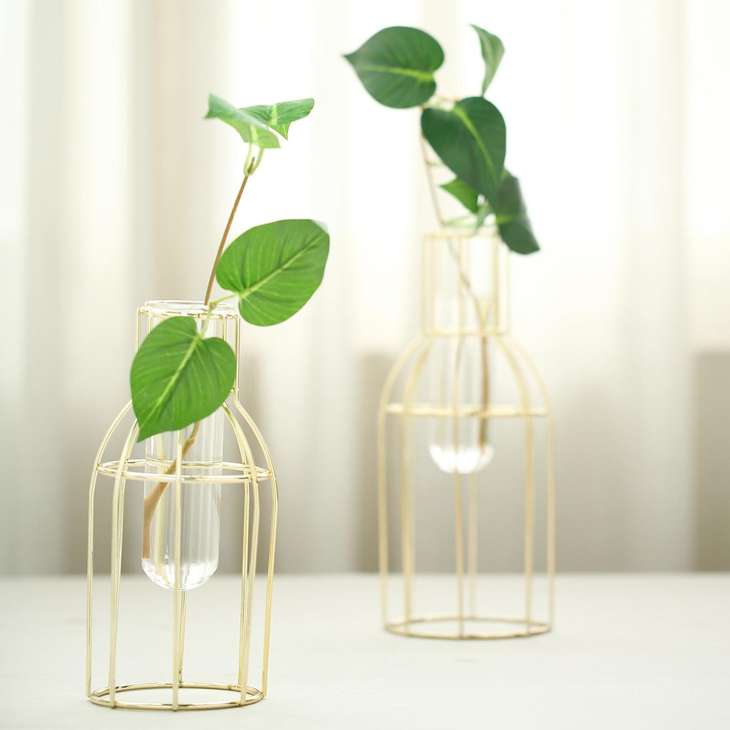2 Pack | Geometric Metal Flower Vase Racks Holders | Bottle Style | Free Glass Tubes Included