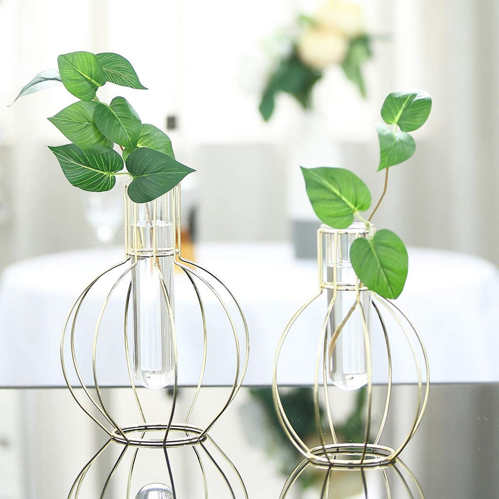 Pack of 2 | Geometric Metal Flower Vase Racks Holders | Round Flask Style | Free Glass Tubes Included