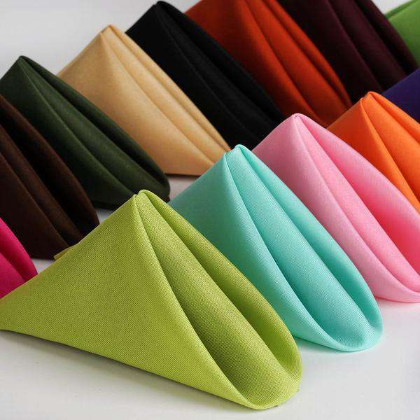 "17""x17"" IVORY Wholesale Polyester Linen Napkins For Wedding Birthday Party Tableware - 5 PCS"