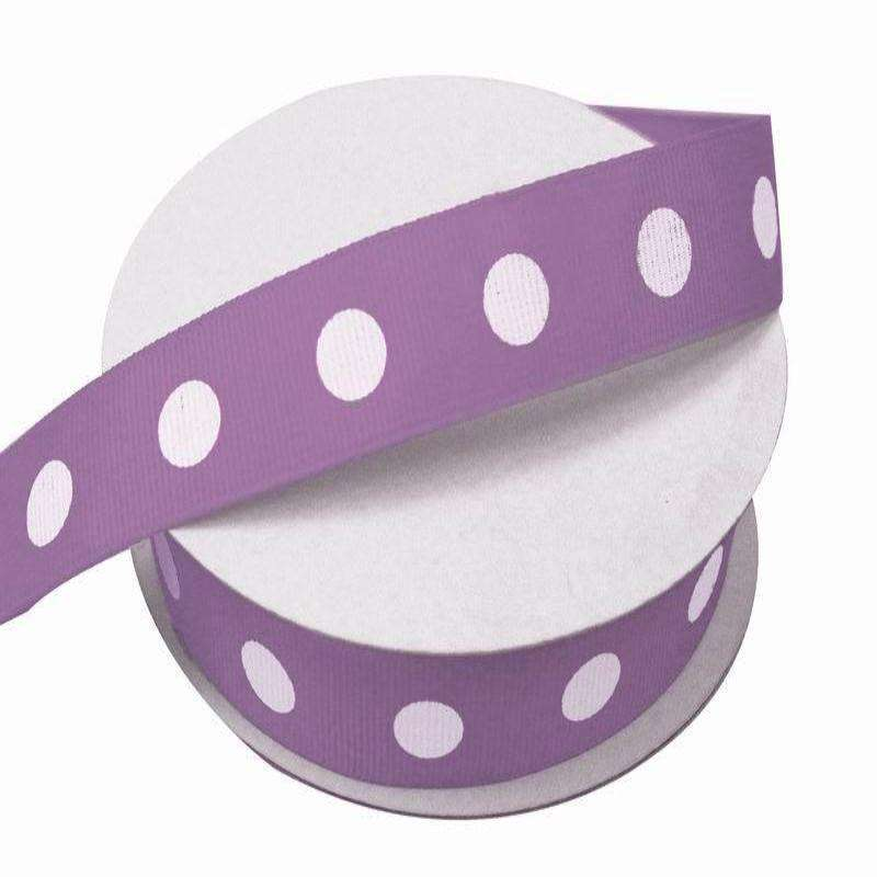 "7/8"" Polka Dot Ribbon-Purple - White Dots"