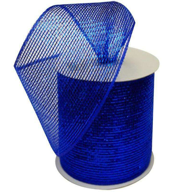 "What a MESH! 4"" x 25yards Shiny Ribbons Royal Blue"