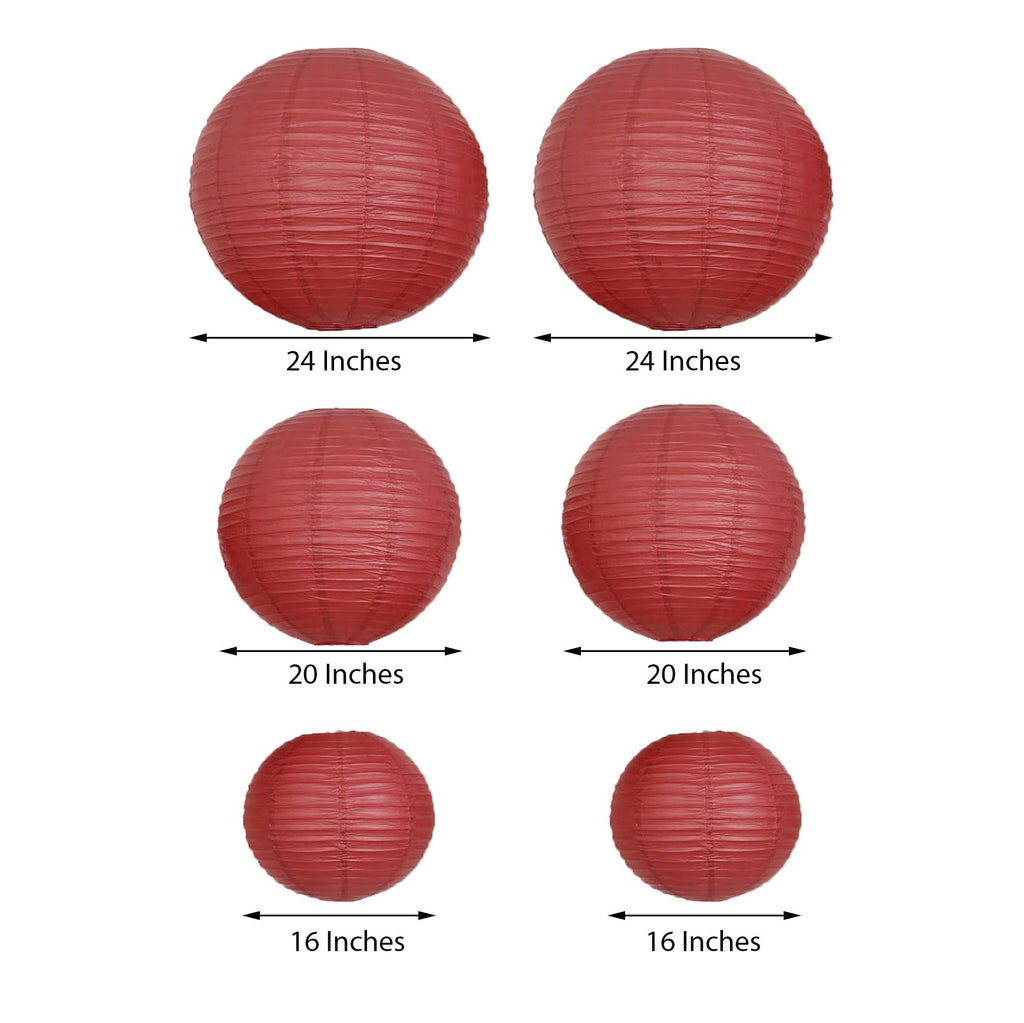 Set of 6 | Burgundy Assorted Chinese Lanterns | Hanging Paper Lanterns With Metal Frame - 16"
