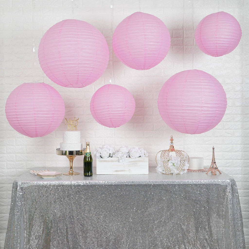 Set of 6 | Pink Assorted Chinese Lanterns | Hanging Paper Lanterns With Metal Frame - 16"