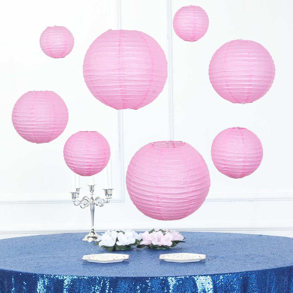 Set of 8 | Pink Assorted Chinese Lanterns | Hanging Paper Lanterns With Metal Frame - 6"