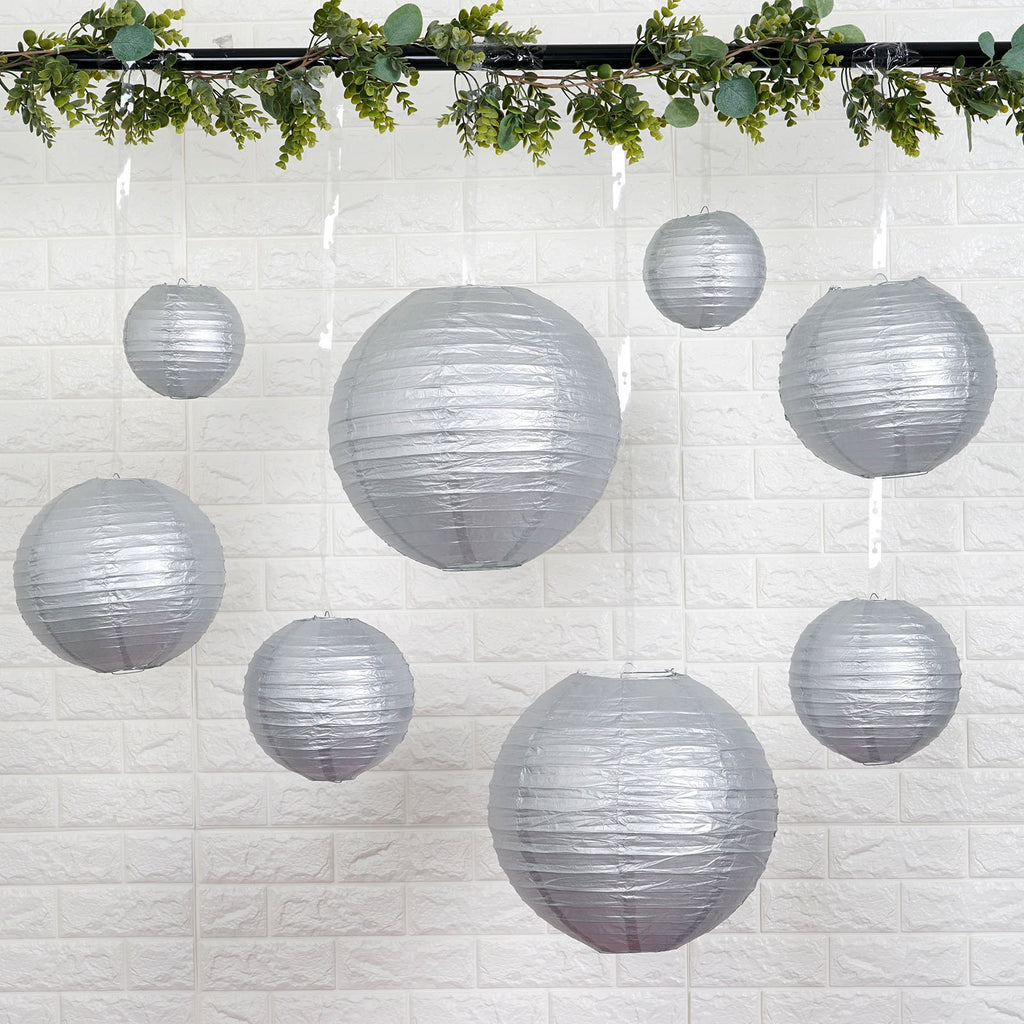 Set of 8 | Silver Assorted Chinese Lanterns | Hanging Paper Lanterns With Metal Frame - 6"