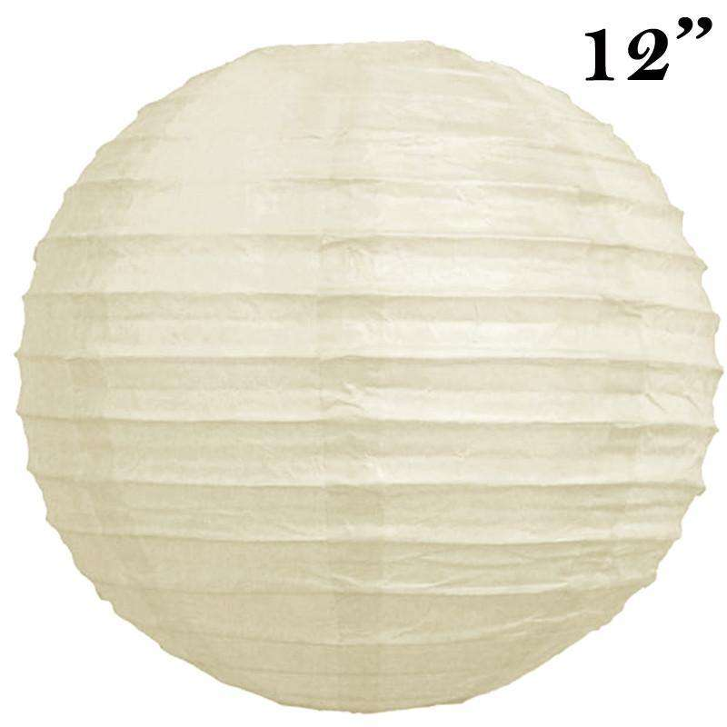 "12"" Paper Chinese Lantern Lamp Shade Hanging Party Event Decor Set - Cream - 12 PCS"