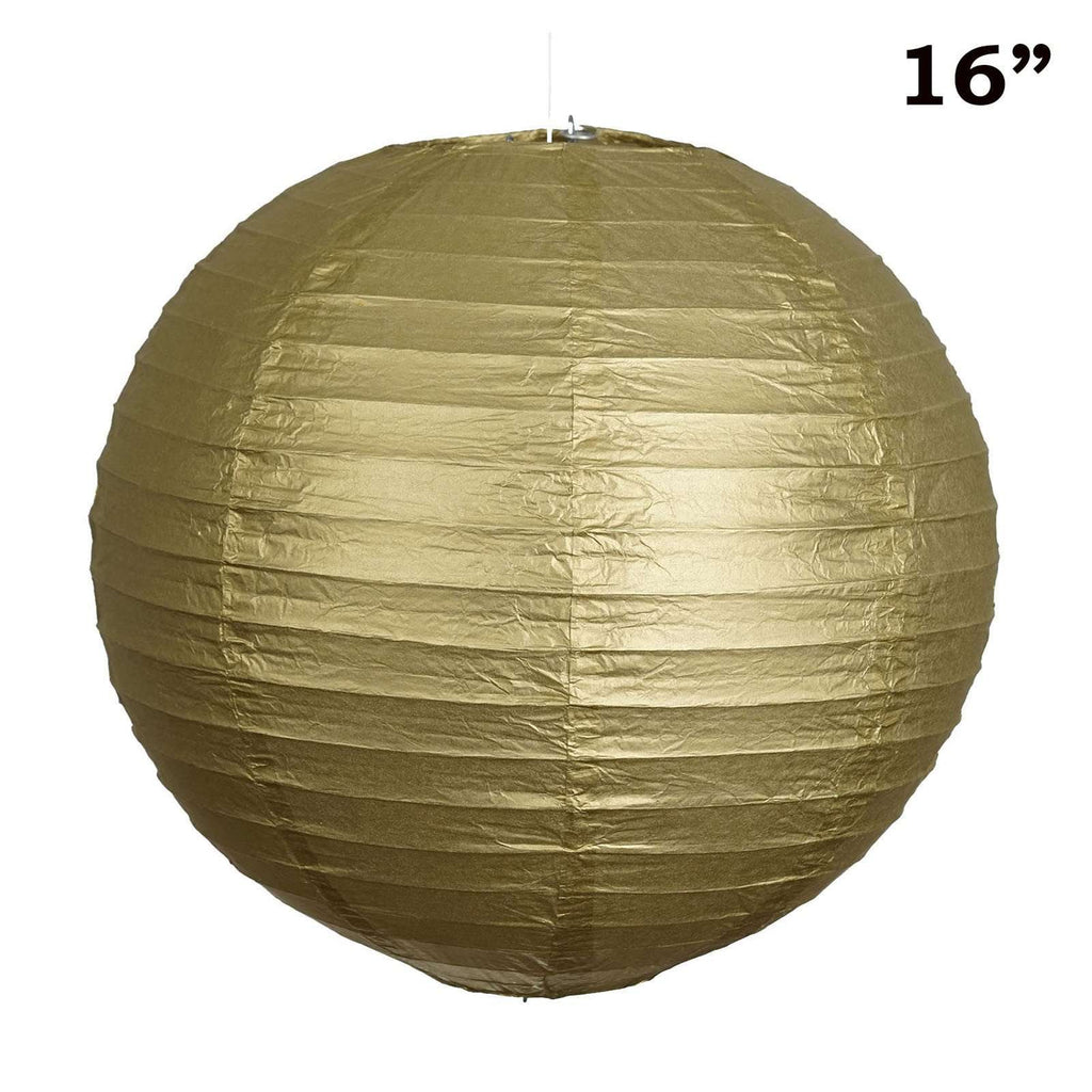 "16"" Paper Chinese Lantern Lamp Shade Hanging Party Event Decor Set - Gold - 12 PCS"