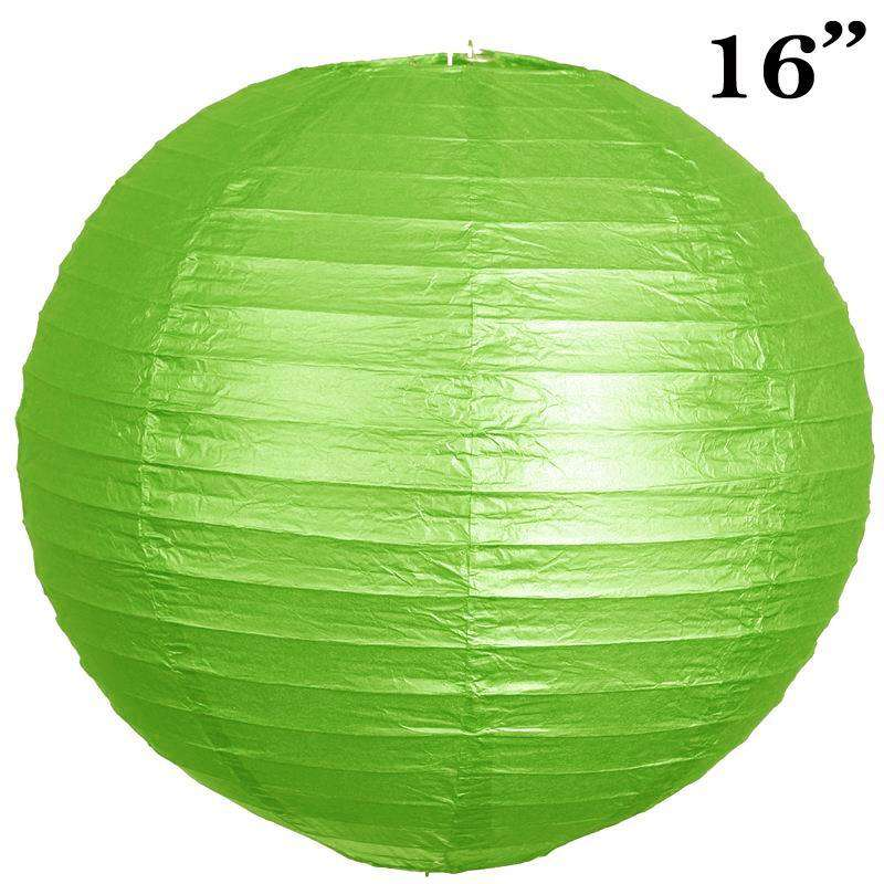 "16"" Paper Chinese Lantern Lamp Shade Hanging Party Event Decor Set - Lime - 12 PCS"