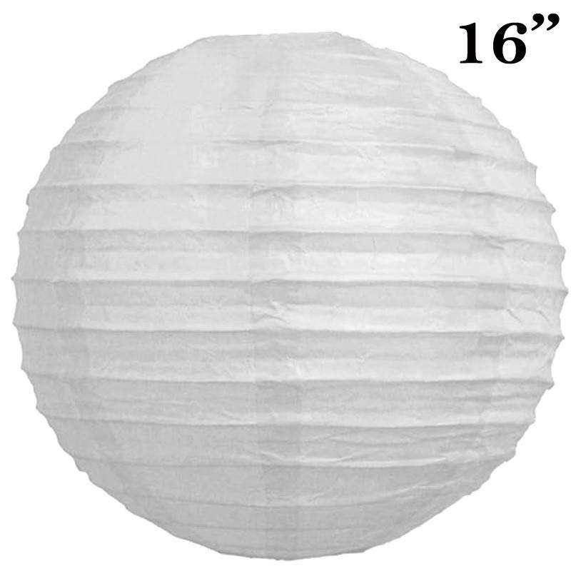 "16"" Paper Chinese Lantern Lamp Shade Hanging Party Event Decor Set - White - 12 PCS"