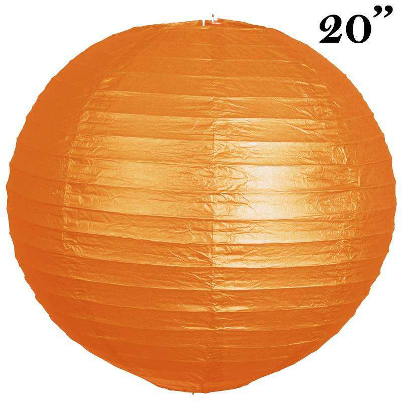 "20"" Paper Chinese Lantern Lamp Shade Hanging Party Event Decor Set - Orange - 12 PCS"