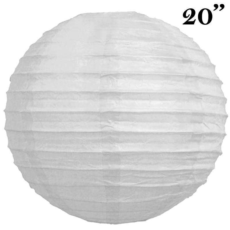 "20"" Paper Chinese Lantern Lamp Shade Hanging Party Event Decor Set - White - 12 PCS"