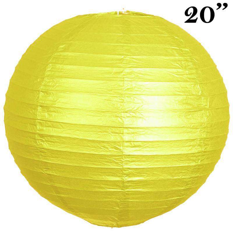 "20"" Paper Chinese Lantern Lamp Shade Hanging Party Event Decor Set - Yellow - 12 PCS"