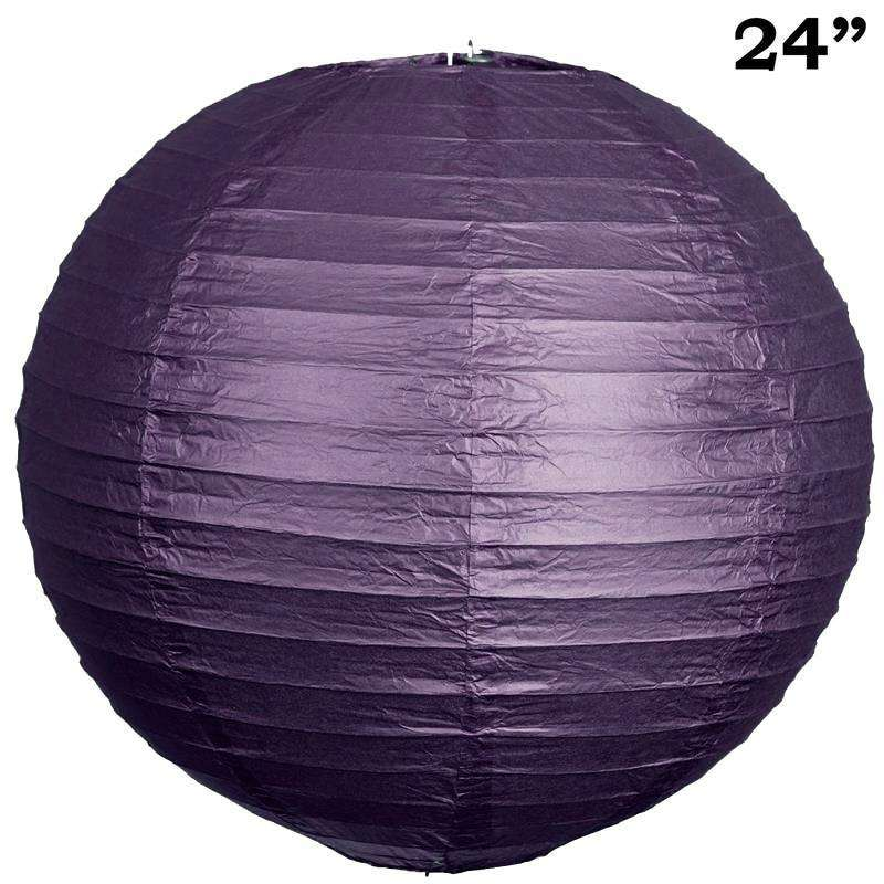 "24"" Paper Chinese Lantern Lamp Shade Hanging Party Event Decor Set - Purple - 12 PCS"
