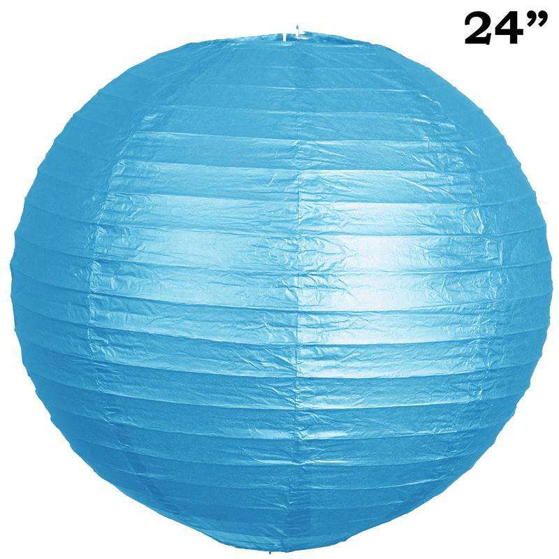 "24"" Paper Chinese Lantern Lamp Shade Hanging Party Event Decor Set - Turquoise - 12 PCS"