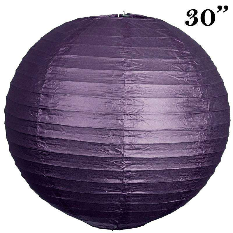 "30"" Paper Chinese Lantern Lamp Shade Hanging Party Event Decor Set - Purple - 12 PCS"