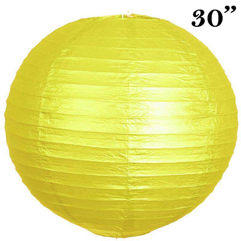"30"" Paper Chinese Lantern Lamp Shade Hanging Party Event Decor Set - Yellow - 12 PCS"