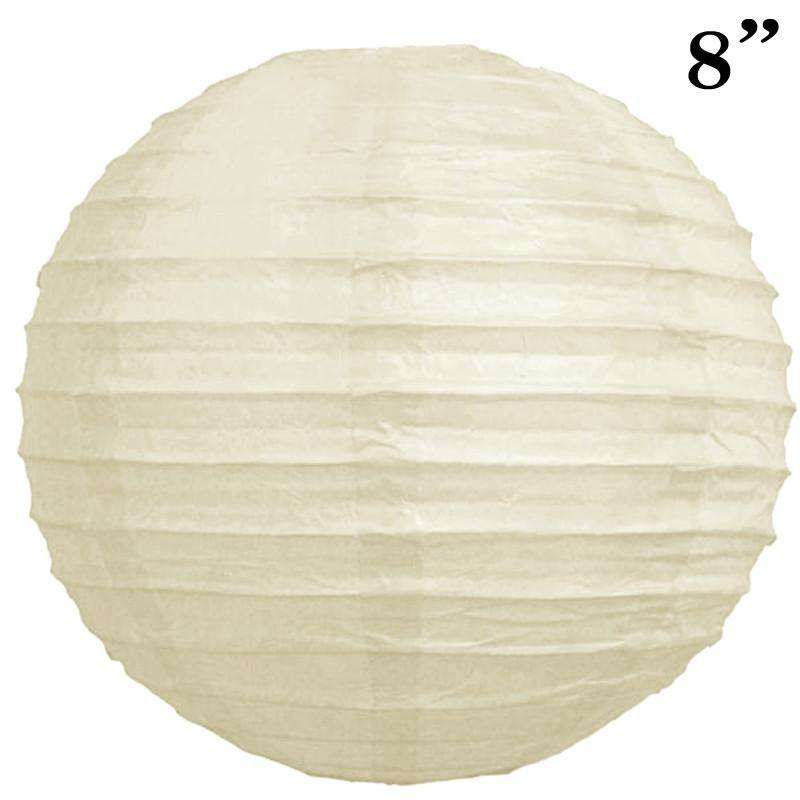 "8"" Paper Chinese Lantern Lamp Shade Hanging Party Event Decor Set - Cream - 12 PCS"