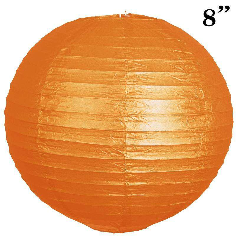 "8"" Paper Chinese Lantern Lamp Shade Hanging Party Event Decor Set - Orange - 12 PCS"