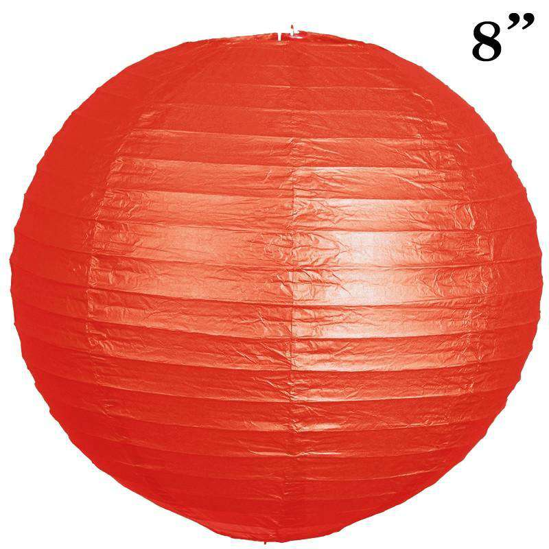 "8"" Paper Chinese Lantern Lamp Shade Hanging Party Event Decor Set - Red - 12 PCS"