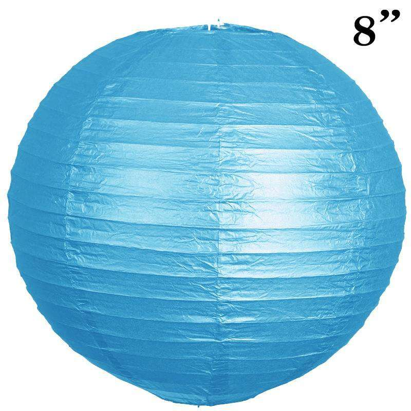 "8"" Paper Chinese Lantern Lamp Shade Hanging Party Event Decor Set - Turquoise - 12 PCS"