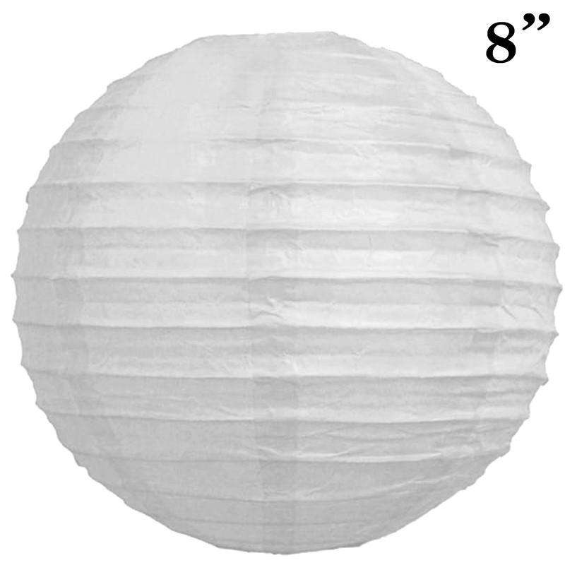 "8"" Paper Chinese Lantern Lamp Shade Hanging Party Event Decor Set - White - 12 PCS"