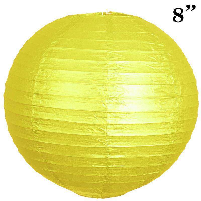 "8"" Paper Chinese Lantern Lamp Shade Hanging Party Event Decor Set - Yellow- 12 PCS"