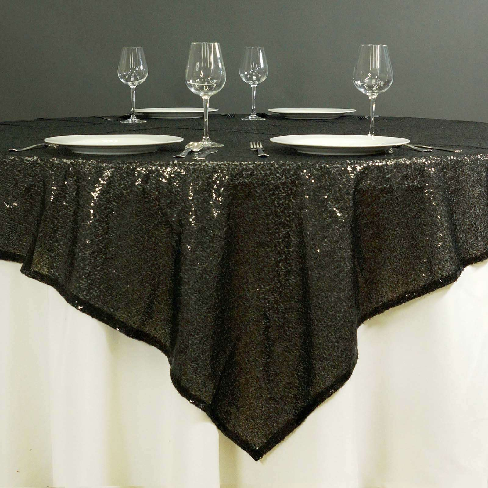 Round Table Overlays.60 X 60 Grand Duchess Sequin Table Overlays Black